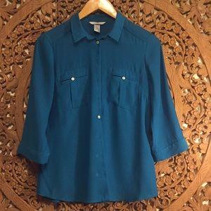 H&M teal green silk like blouse